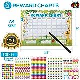Childrens Reward Charts for Children Behaviour Chart for Children with 1000 Reward Stickers for Kids Potty Training and Good Behaviour Aid
