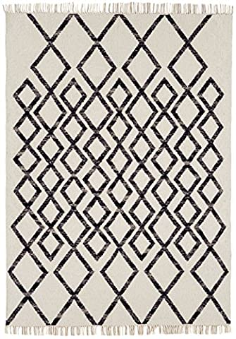 Moderne tapis Designer Hackney kilim 160x230cm diamant Mono 80% laine noir et blanc 20% JUTE