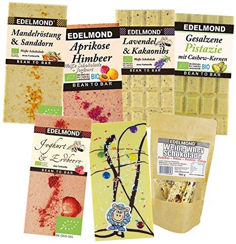 Edelmond® Weiße Schokolade - Süßigkeiten Paket ✓ Fruchtig ohne Farbstoffe ✓ Als Geschenk ✓ Versandkostenfrei! - Alles Handarbeit (Farbstoff Plain)
