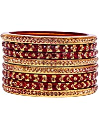 Dulari Stone Embellished Maroon Lac Round Bangles For Women (Set Of 8 Bangles)