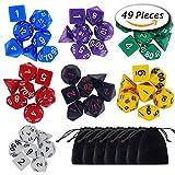 Paxcoo 7 x 7 (49 pezzi) Polyhedral Dadi con i sacchetti di Dungeons and Dragons DND MTG RPG D20 D12 D10 D8 D6 D4 Giochi da Tavolo