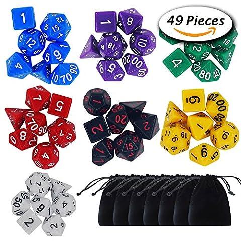 Paxcoo 7 x 7 (49 Pieces) Polyedrische Würfel mit Taschen für Dungeons und Drachen DND RPG MTG D20 D12 D10 D8 D6 D4