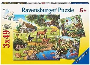 Ravensburger - Puzzle con diseño de Animali, 3 x 49 Piezas (09265 9)