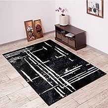 Alfombra De Salón Moderna – Color Negro Gris De Diseño Geométrico – Suave – Fácil De Limpiar – Top Precio – Diferentes Dimensiones S-XXXL 80 x 150 cm