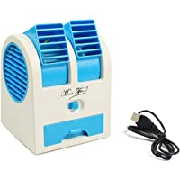 Rexez Mini Fan & Portable Dual Bladeless Small Air Conditioner Water Air Cooler Powered by USB & Battery Use of Car/Home/Office