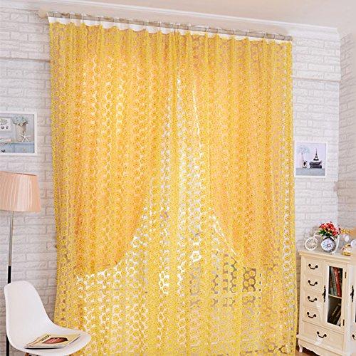 aihometm Fenster Screening Vorhang Tuch mit Rose Blumen Glas Voile Tüll für Erkerfenster Hotel Badezimmer Dusche Raumteiler (100cm x 200cm/99,1x 198,1cm Zoll) Gelb -