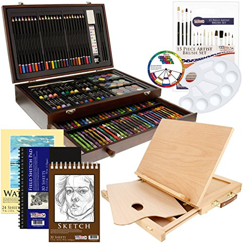 Us Art Supply Premium Mega Holz Box Art 163-teilig Mega Bonus-Set schwarz