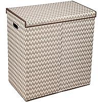 Haushalt Essentials Double behindern Wäschesortierer Deckel mit Magnetverschluss Zickzack Chevron