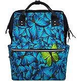 Reisetasche Schöne Blau Gelb Schmetterling Multifunktions Wickeltaschen Rucksack