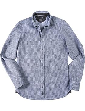 Marc O'Polo Herren Hemd Baumwolle & Mix Oberhemd Gemustert, Größe: L, Farbe: Blau