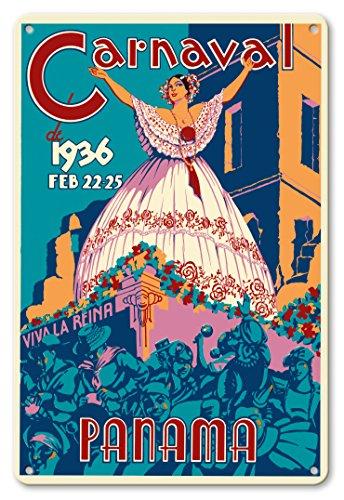 Pacifica Island Art 22cm x 30cm Vintage Metallschild - Karneval in Panama vom 22-25 Februar, 1936 - Es lebe die Königin - Vintage Retro Welt Reise Plakat c.1936 - Die Königin-plakat