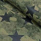 Brittschens Stoffe und Zutaten Stoff Sweat French Terry | Camouflage mit Sternen | Meterware | Stoff zum nähen | 50cm x 160cm, 18,90€ pro m