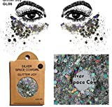 Glitter für Gesicht Körper Haare GL06 Silber
