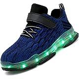 Unisex Bambini LED Light-up Scarpe,7 Colori USB Carica Lampeggiante Luminosi Running Sneakers,Bambino da Skateboard Alte Snea