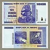 Billete 10 Billion de dólares de Zimbabwe de 2008. Récord mundial de inflación de moneda (fuera...