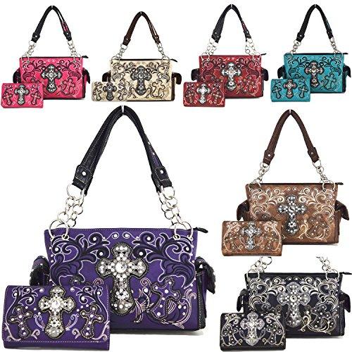 Blancho Biancheria da letto delle donne [Croce Satchel] PU Leather Bag Set Elegante Portafoglio Hanbag Combo Bag borsa di modo TURCHESE BAG-BEIGE