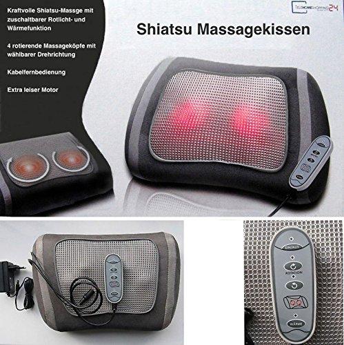 Shiatsu Massagekissen für kraftvolle Massage mit 4 rotierenden Massageköpfen, Rotlicht- und Wärmefunktion + Fernbedienung.