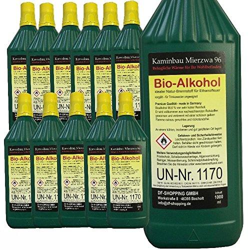 Bioethanol Hochleistungs 12L mit Schutz Minderjähriger und Düsen mit Füllung jede Flasche