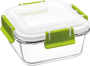 Treo By Milton Borosilicate Bake N Lock Glass Square Container, 670ml, 1-Piece, Transparent