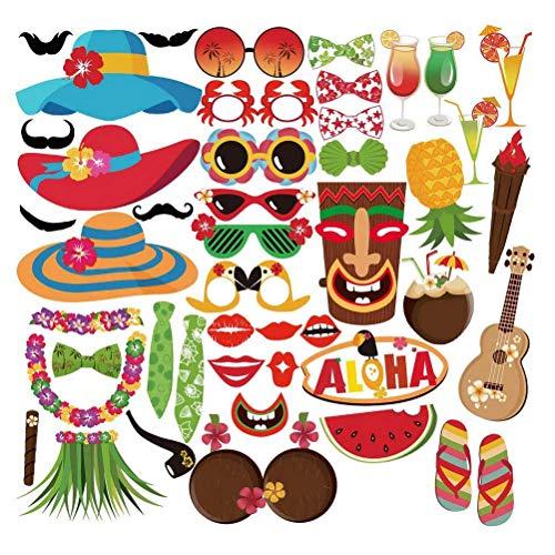 45 Stück Hawaii Themed Foto Requisiten, Tukistore Hawaiian Photo Booth Selfie Rahmen Requisiten Unisex DIY Kit Photo Booth Prop Party-Requisiten für Sommer Pool Party Dekoration