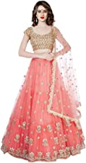 Shivam Women's Silk Embroidered Lehenga Choli (orangeNET_orange_Free Size)