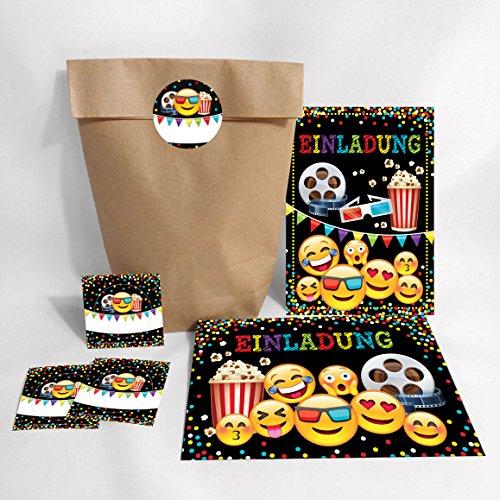 8-er Set Einladungskarten, Umschläge, Geschenktüten, Aufkleber Geburtstag Kinder Kino für Mädchen Jungen Jungs Einladungen Kindergeburtstag Geburtstagseinladungen Set Partyset Kartenset Party
