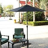 Flabor Ampelschirm 275 CM UV-Schutz 50+ Wasserabweisende Bespannung Marktschirm Gartenschirm Terrassenschirm Regenschirm Sonnenschirm mit Ständer (Schwarz)