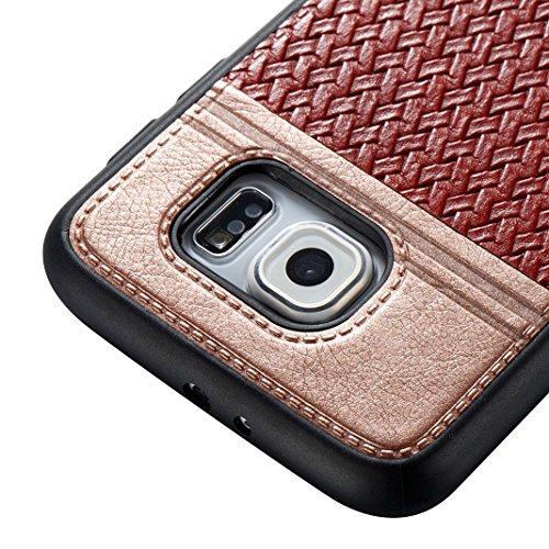 Cover Per Samsung Galaxy S6, Asnlove TPU Moda Morbida Custodia Linee Intrecciate Caso Elegante Ultra Sottile Cassa Braided Stile Tessere Case Bumper Per Samsung Galaxy S6 - Rosa Rosso