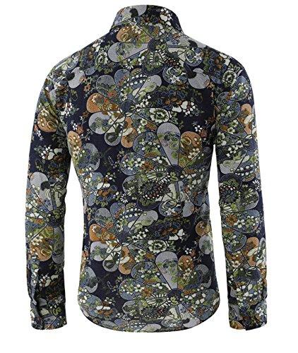 Herren Blumen Art-langärmliges Blumen Hemd Casual Shirt von Allthemen Farbe 7