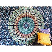 Manta India bohemia para decoración, 100% algodón, diseño de impresión de mandala, para la playa o para colgar en la pared