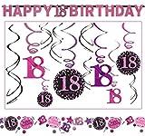 18.Geburtstag Dekoration Deko-Set Pink Happy Birthday Partykette Girlande Konfetti Achtzehn Jahre