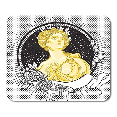 HOTNING Tappetini per Il Mouse, Gaming Mouse Pad Dark Romance Victorian Cameo Beautiful Greek Lady on Vintage Black Decorated 11.8'x 9.8' Decor Office Nonslip Rubber Backing Mousepad Mouse Mat