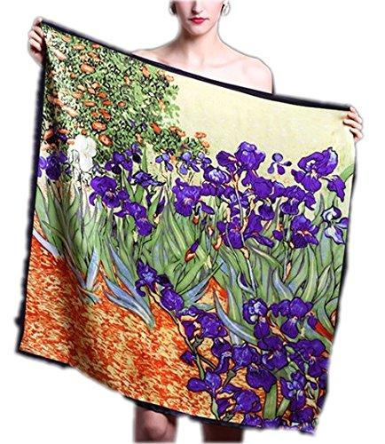 Prettystern P962 - 90cm 100% seta Impressionismo Arte panno Stampa pittura - Van Gogh - Iris