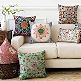 AEROHAVEN Velvet Cotton Turkish Designer Decorative Throw Pillow/Cushion Covers (16 INCH x 16 INCH OR 40cm x 40cm) - Set of 5