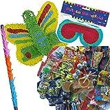 Pinata Set: * Schmetterling * mit + Maske + Schläger + 100-teiliger Süßigkeiten-Füllung No.1 von Carpeta© // Handgefertigte spanische Pinata. Tolles Spiel für Kindergeburtstag oder Mottoparty