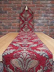Burgundy, Red and Gold Table Runner HALF PRICE 230cm x 33cm. A stunning table centre piece rich and elegant with strong colours and a soft luxurious feel finished with tassels on the ends and backed with a cotton lining.