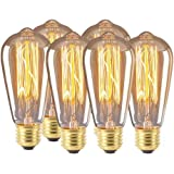 Zorara E27 ST64 Edison gloeilamp, 6 stuks 4W 220V Edison LED-lamp E27, antieke filament-verlichting in retro vintage look bar