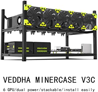 Bleev.In Veddha Minercase V3C 6 GPU Aluminum Stackable Mining Rig Open Air Frame Case (BlackStorm)