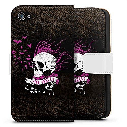 Apple iPhone X Silikon Hülle Case Schutzhülle Totenkopf Schwarz Pink Sideflip Tasche weiß