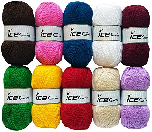 HdK-Versand 10x100 Gramm SB Pack Ice Yarns Favorite aus 100% Acryl Bunt Mix