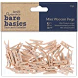 Papermania Mini Wooden Peg, Pack of 50, Brown