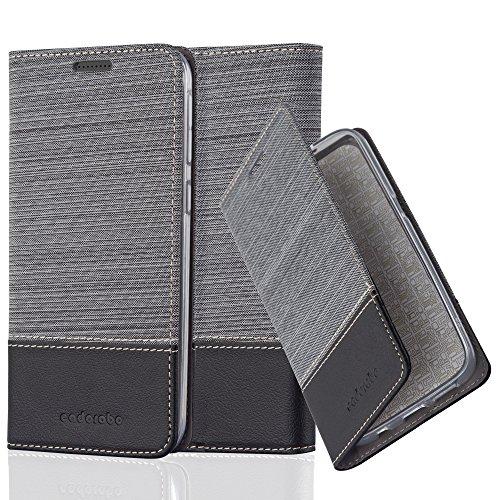 Cadorabo Hülle für HTC Desire 820 - Hülle in GRAU SCHWARZ – Handyhülle mit Standfunktion und Kartenfach im Stoff Design - Case Cover Schutzhülle Etui Tasche Book