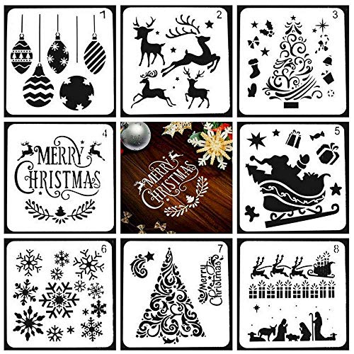 Pawaca Weihnachtsmotiven Schablonen Christmas Stencils, 8 Stück Verschiedene Weihnachten Stil Schablonen Elch Schneeflocke Schablone für Malerei auf Holz, Handwerk Kartenherstellung, Wohnkultur (Halloween-schablonen Malerei Für)