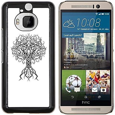 Poder Blanco Negro minimalista profundo Árbol- Metal de aluminio y de plástico duro Caja del teléfono - Negro - HTC One M9+ / M9 Plus (Not