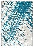 andiamo Saint Tropez Teppich, Polypropylen, Creme-türkis, 150 x 80 x 0,8 cm