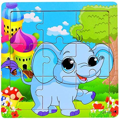 WXX Hölzerne Tierpuzzles Für Kleinkinder 1 2 3 4 Jahre Alt, Farbe Form Kognitive Fähigkeiten Lernen Früherziehung Spielzeug Geschenke, Helle Und Helle Farbformen,E (Alt Jahr Bildungs-spielzeug 1 Besten)