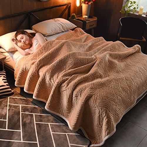 Wddwarmhome Einfarbig Decke Bett Warme Decke Wohnzimmer Freizeit Decke Polyester Material Wolldecke ( Farbe : Dark camel , größe : 150*200cm ) (Haustier Haus Isolierung)