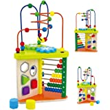 Toyshine Wooden Shape Sorter and Rolling Bead Maze Labyrinth Toy - Multicolor