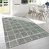 Paco Home Moderner Kurzflor Wohnzimmer Teppich Karo Design Liniert Meliert In Schwarz Weiß, Grösse:60x110 cm