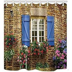 Dana34Malory Duschvorhang, toskanisches Deko, Steinhaus und Fenster mit Blumen, Polyester, mit Haken, 152,4 x 182,9 cm
